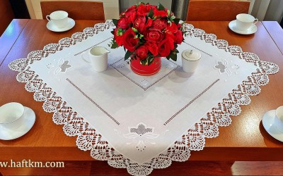 "Hand-embroidered tablecloth ""Lotus Flower"""