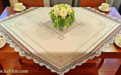 Elegant tablecloth with handmade crochet lace.