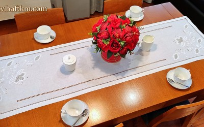 "Exclusive table runner, hand embroidery ""Lotus flower"""