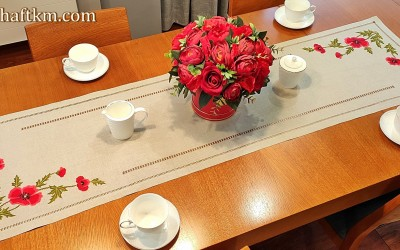 "Exclusive tablecloth, hand embroidery ""Bouquet of field poppies"""