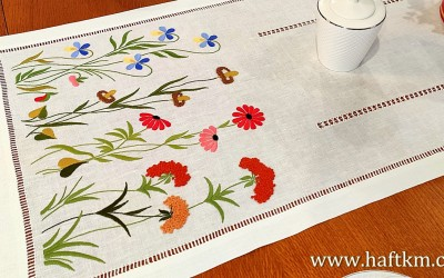 "A beautiful, hand-embroidered tablecloth ""Mountain Meadow"""