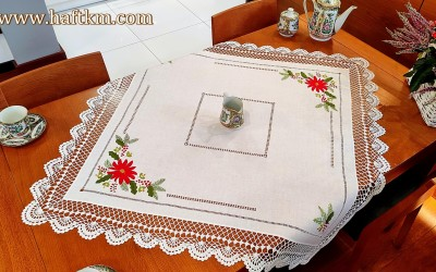 "A delightful linen tablecloth ""Star of Bethlehem"""