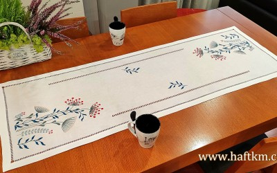 "Hand-embroidered tablecloth ""Modern"""