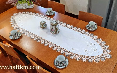 "Hand embroidered tablecloth ""Bells of Toledo"""