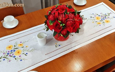 "Hand embroidered tablecloth  ""Spring"""