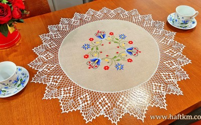 Hand embroidered tablecloth with a Kashubian motif.