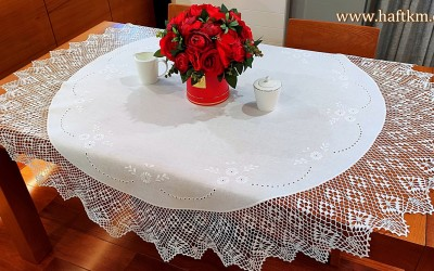 "Linen tablecloth ""The Magic of English Embroidery"""