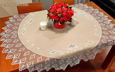"Hand embroidered tablecloth ""Lotus flower"""
