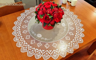 "Hand-embroidered ""Margaretki"" tablecloth"