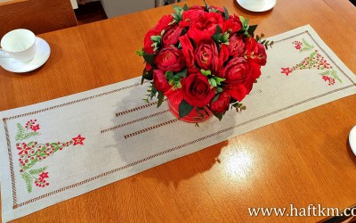 "Beautiful Christmas table runner ""Modern Christmas tree"""