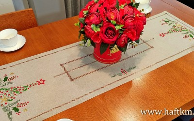 "Beautiful Christmas table runner ""Christmas tree leaves"""