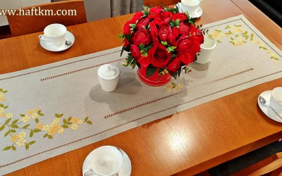 "Elegant table runner ""Blooming twig"""