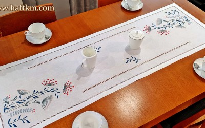 "Hand-embroidered table runner ""Modernist dandelions"""