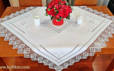"Hand-embroidered tablecloth ""Róża makowska"""