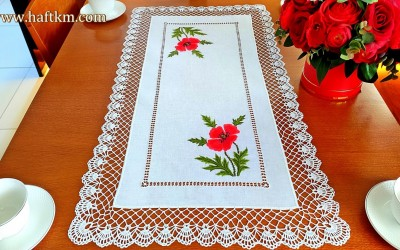 "Table runner, hand embroidery with crochet lace ""Shaded poppies"""