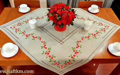 "Hand-embroidered tablecloth ""Magic of nature"""