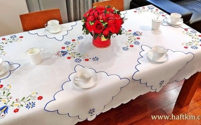 Beautiful hand-embroidered tablecloth, Kashubian embroidery.
