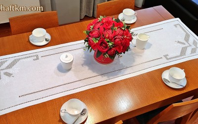 "Elegant table runner, hand embroidery ""Toledo geometry"""